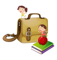 Kids with a school bag vector image