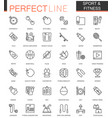 sport and fitness thin line web icons set outline vector image