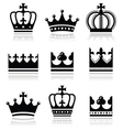Crown royal family icons set vector image vector image