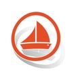 Sailing ship sign sticker orange vector image