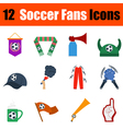 Flat design football fans icon set vector image vector image