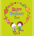 birthday doodle icons vector image