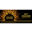 Gift voucher template with futuristic background vector image