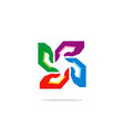 hand circle abstract colored logo vector image
