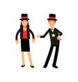 magician with magic wand and his female assistant vector image