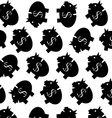 Piggy bank pattern black white vector image