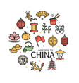 china welcome travel concept round design template vector image vector image