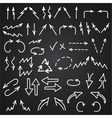 Hand drawn arrows icons set isolated on blackboard vector image