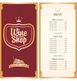 menu for wine shop vector image vector image