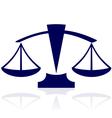 blue justice scales icon vector image