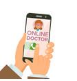 online doctor app hands holding smartphone vector image