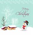 merry christmas card with snowman and tree vector image