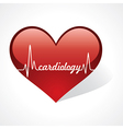 heartbeat make cardiology word in heart vector image