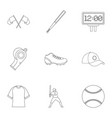 baseball icons set outline style vector image