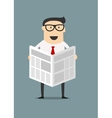 Cartoon businessman reading a newspaper vector image