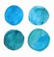 Set of blue watercolor round stains vector image
