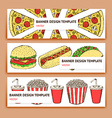 Sketch fast food banner vector image
