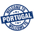 welcome to portugal blue stamp vector image
