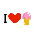 I love ice-cream Cold dessert and heart Logo for vector image