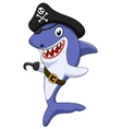 Cute pirate shark cartoon vector image vector image