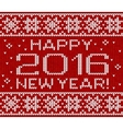 Happy 2016 new year knitted greeting card vector image vector image