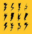 black color lightnings set isolated on yellow vector image