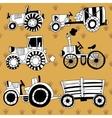 Doodle tractors vector image