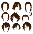 Hair styling for woman drawing Brown Set 3 vector image