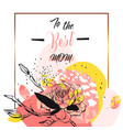hand drawn abstract floral collage with to vector image