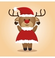 happy merry christmas with character reindeer vector image