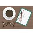notepad with pencil glasses and coffee on wood vector image