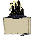 paper background with black castle vector image