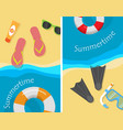 summertime and beach vacation posters set vector image