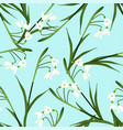 white snowdrop flower on light blue background vector image