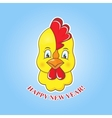 Sticker yellow chick on a blue background vector image