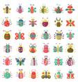 color flat insects icons set simple flat vector image