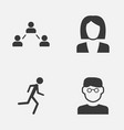 Person icons set collection of network running vector image