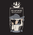 seafood restaurant with chef fish and sailboat vector image vector image