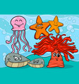 Sea life cartoon animal characters vector image