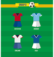 Brazil Soccer Championship 2014 Group D team vector image