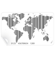 World map in the barcode concept vector image