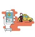 Booking taxi via mobile app vector image