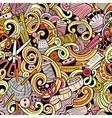 Cartoon handmade and sewing doodles seamless vector image