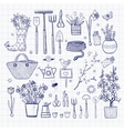 Big set of hand-drawn sketch garden elements vector image