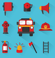 Fireman Set of firefighting equipment vector image