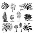 set of trees black and white vector image