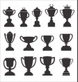 sports trophies and awards retro black collection vector image