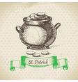 St Patricks Day vintage background vector image