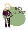Happy boy dressed as skeleton for Halloween vector image vector image