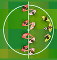 soccer handshake of two football pass before the vector image